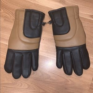 Men's winter gloves patent leather brown/tan sz M